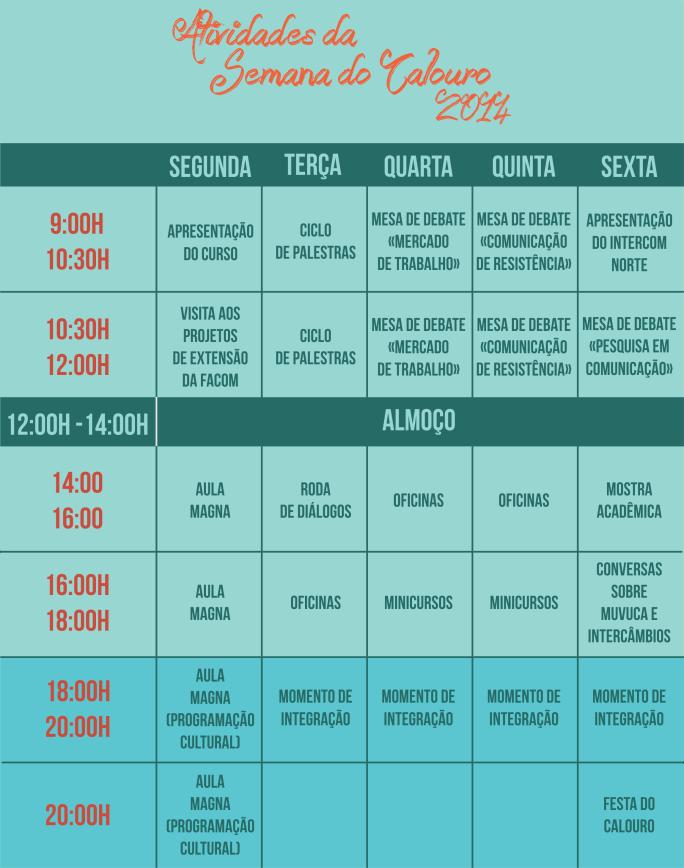 programação semana do calouro 2014